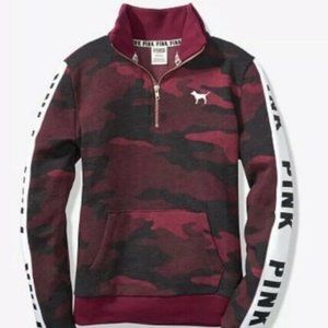 VICTORIA'S SECRET PINK Quarter Zip Ruby Camo